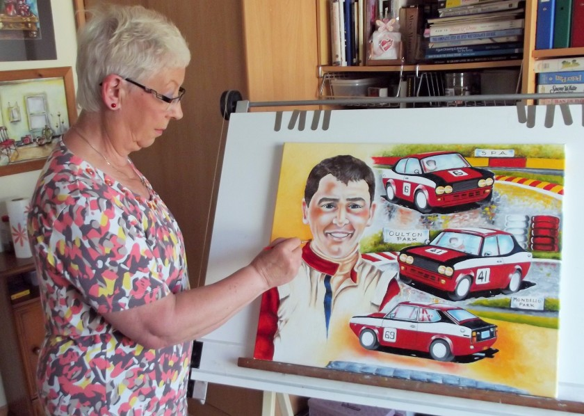 The Artist completing a motoring artwork